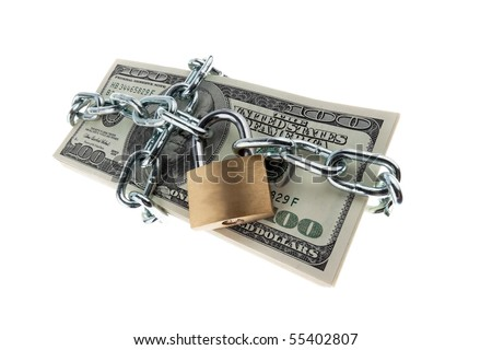 U.S. dollars banknotes with lock and chain. Money stack for safety and investment. - stock photo