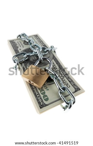 U.S. dollars banknotes with lock and chain. Stacks of money for safety and investment.