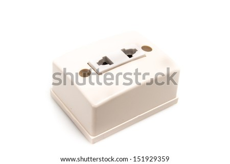 U.S. electric household outlet isolated - - stock photo