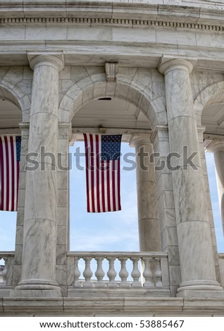 U.S. flag hanging in Amphitheater at Arlington National Cemetery - stock photo