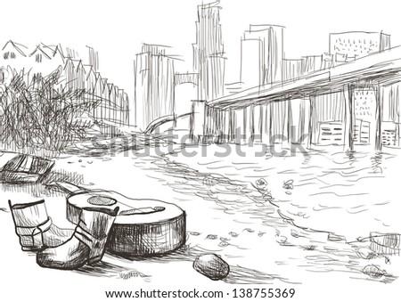 U.S. Gulf. A hand drawn illustration - full sized (original). - stock photo