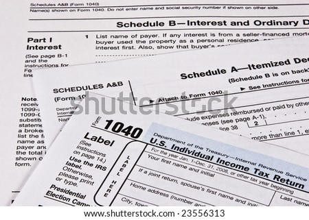 U.S. Income Tax return with schedules A and B - stock photo