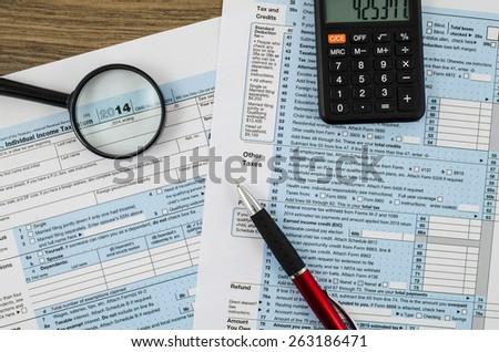 U.S. individual income tax return form 1040 - stock photo