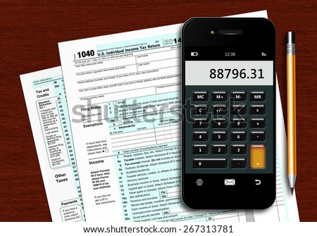 u.s. individual income tax return form 1040 with phone calculator and pencil lying on wooden table - stock photo
