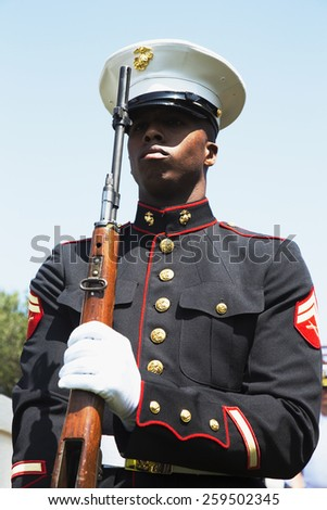 U.S. Marine at attention, Los Angeles National Cemetery Annual Memorial Event, May 26, 2014, California, USA, 05.26.2014 - stock photo