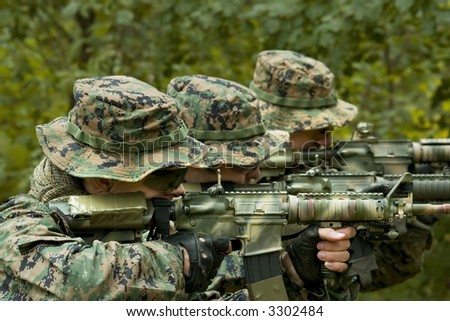 U.S. Marine corps Soldiers are ready to fight - stock photo
