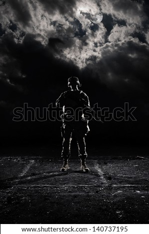 U.S. Marines at dark. Military night under the light of the moon. - stock photo