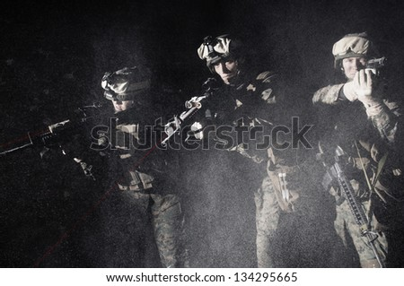 U.S. Marines attack the object. Storm the building. - stock photo