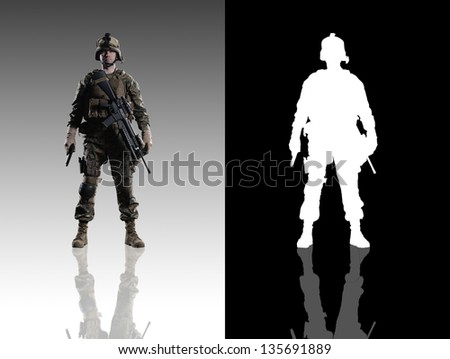 U.S. military marine. soldier. Studio shooting. frontal pose with reflections.  With alpha channel. - stock photo