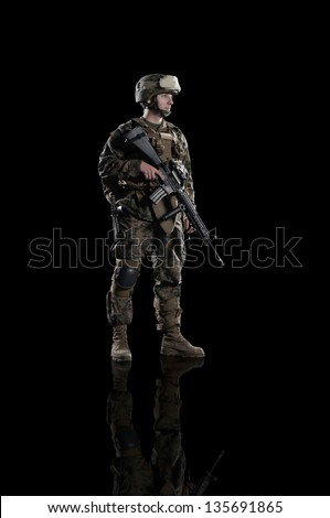 U.S. military marine. soldier. Studio shooting. Turn right. with reflections. isolated. With alpha channel - in my gallery. - stock photo