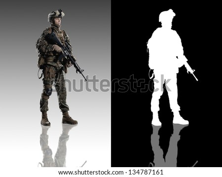 U.S. military marine. Studio shooting. With alpha channel. Turn right. with reflections. isolated. - stock photo