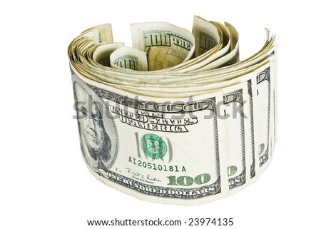 U.S. one hundred dollar bills in a coil isolated on a white background - stock photo