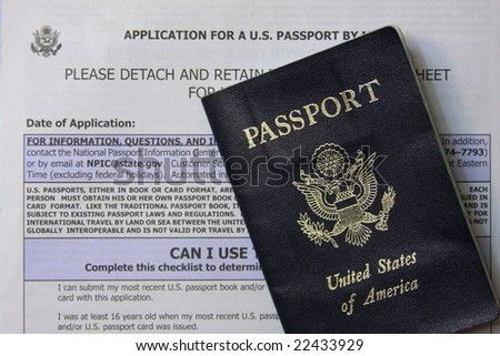 U.S. Passport and application - stock photo