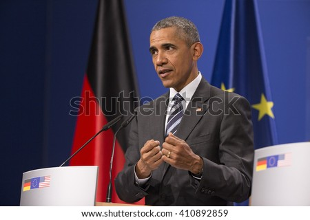 U.S. President Barack Obama is pictured during a news conference held with German Chancellor Angela Merkel at the Herrenhausen Palace in Hanover, Germany on April 24, 2016.  - stock photo