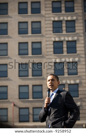 U.S. Senator Barack Obama (D-IL) campaigns at a rally in Rodney Square February 3, 2008 in Wilmington, Delaware. - stock photo