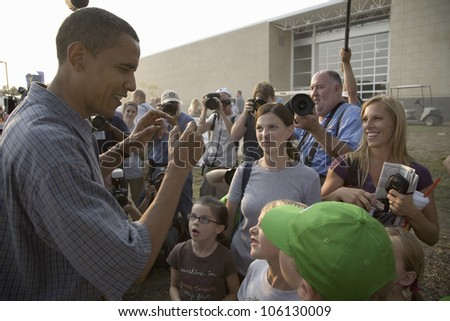 U.S. Senator Barak Obama campaigning for President at Iowa State Fair in Des Moines Iowa, August 16, 2007 - stock photo
