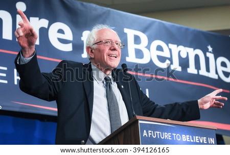 U.S. Senator Bernie Sanders speaks in Bedford, New Hampshire, on January 22, 2016. - stock photo