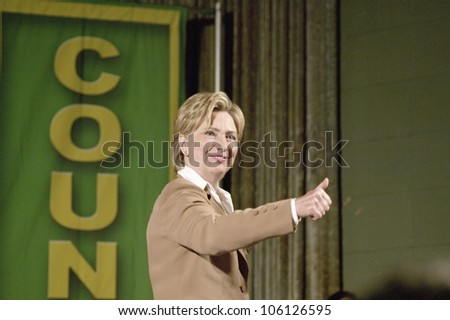 U.S. Senator, Former First Lady and Presidential Candidate, Hillary Clinton gives thumbs up at rally after Iowa Democratic Presidential Debate, Drake University, Des Moines, Iowa, August 19, 2007 - stock photo