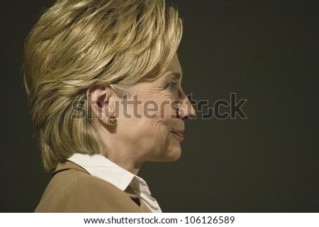 U.S. Senator, Former First Lady and Presidential Candidate, Hillary Clinton, listening at rally following Iowa Democratic Presidential Debate, Drake University, Des Moines, Iowa, August 19, 2007 - stock photo