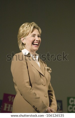U.S. Senator, Former First Lady and Presidential Candidate, Hillary Clinton, smiling during rally following Iowa Democratic Presidential Debate, Drake University, Des Moines, Iowa, August 19, 2007 - stock photo