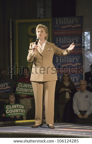 U.S. Senator, Former First Lady and Presidential Candidate, Hillary Clinton, speaking at rally following Iowa Democratic Presidential Debate, Drake University, Des Moines, Iowa, August 19, 2007 - stock photo