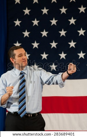 U.S. Senator Ted Cruz, Republican of Texas, speaks at the First in the Nation Leadership Summit in Nashua, NH, April 18, 2015.