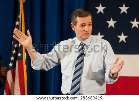 U.S. Senator Ted Cruz, Republican of Texas, speaks at the First in the Nation Leadership Summit in Nashua, NH, April 18, 2015.  - stock photo