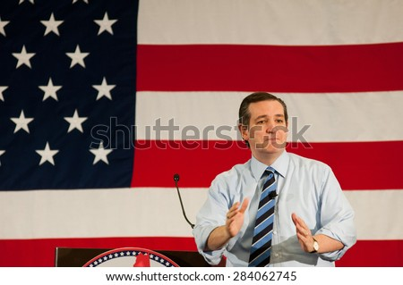 U.S. Senator Ted Cruz, Republican of Texas, speaks at the First in the Nation Leadership Summit in Nashua, New Hampshire, on April 18, 2015.  - stock photo