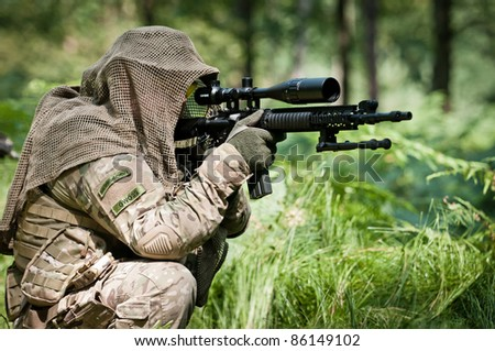 u.s. soldier defending position - stock photo