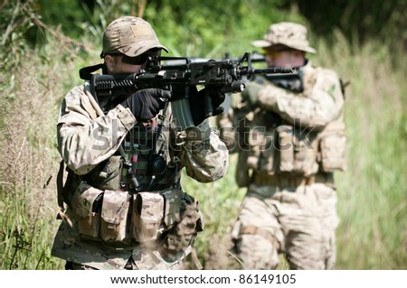 u.s. soldiers on patrol - stock photo