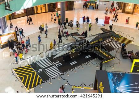 UAE, DUBAI - DECEMBER 25: airplane in Dubai Mall shopping center on December 25, 2014 - stock photo