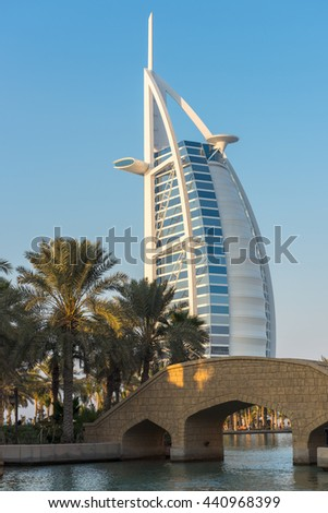 UAE, DUBAI - DECEMBER 28: Hotel Burj Al Arab building from Madinat Jumeirah, Dubai, United Arab Emirates on December 28, 2014 - stock photo