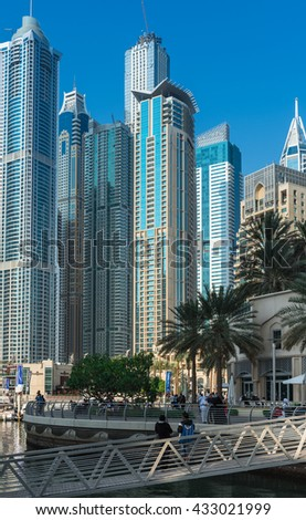 UAE, DUBAI - DECEMBER 31: view of Dubai Marina, United Arab Emirates - the largest man-made marina in the world on December 31, 2014