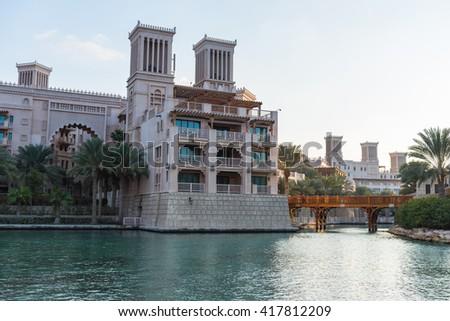 UAE, DUBAI - DECEMBER 28: view of Madinat Jumeirah hotel in Dubai on December 28, 2014 - stock photo