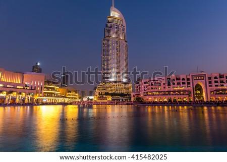 UAE, DUBAI - JANUARY 01: Dubai fountains show place at the Dubai Mall on January 01, 2015 - stock photo
