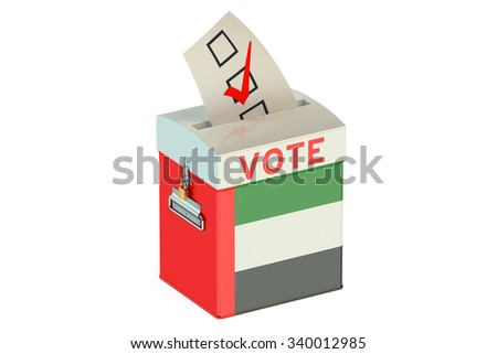 UAE election ballot box for collecting votes  - stock photo