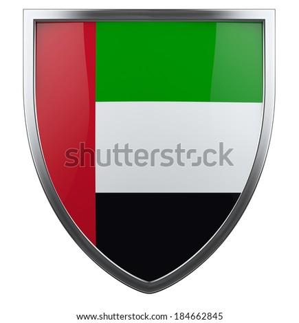 UAE flag shield isolated icon. - stock photo