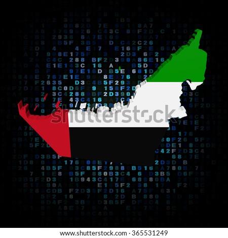 UAE map flag on hex code illustration - stock photo