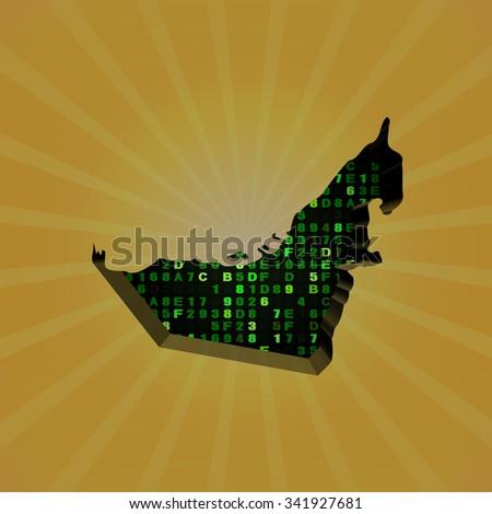 UAE sunburst map with hex code illustration - stock photo