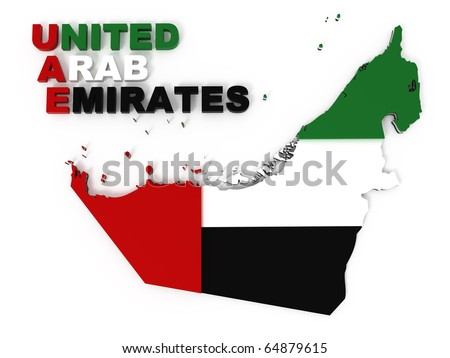 UAE, United Arab Emirates, map with flag, clipping path included, isolated on white, 3d illustration - stock photo