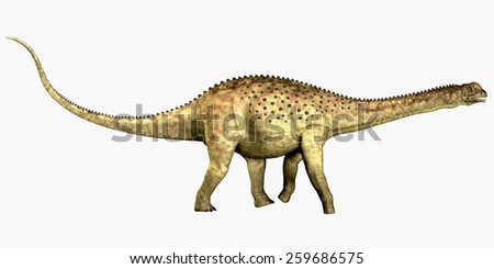 Uberabatitan Dinosaur on White - Uberabatitan was a herbivorous sauropod dinosaur that lived in the Cretaceous Period of Brazil. - stock photo