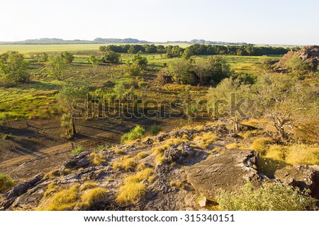 Ubirr, East Alligator region of Kakadu National Park in the Northern Territory, Australia, known for Aboriginal rock art. It consists of rock outcrops on the edge of the Nadab floodplain - stock photo