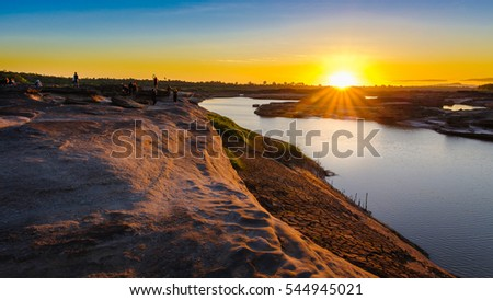 Ubon Ratchathani, Thailand : Nov 27, 2016 : People are enjoying their vacation in th morning  after sunrise at Sam Phan Bok, Ubon Ratchathani, Thailand.