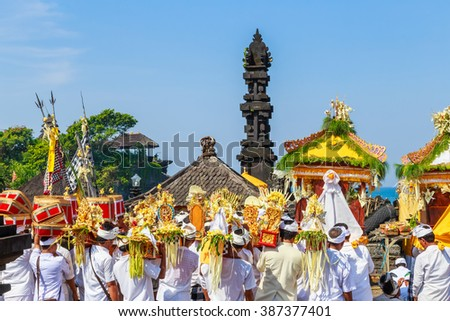 "UBUD, BALI, INDONESIA - MARCH 28 :Melasti Ritual is performed before Nyepi - a Balinese ""Day of Silence"" on March 28, 2014 in Ubud, Bali, Indonesia."
