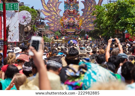 UBUD, BALI, INDONESIA - NOVEMBER 1: Ceremony of royal cremation - Ngaben on November 1, 2013 in Ubud, Bali, Indonesia - stock photo