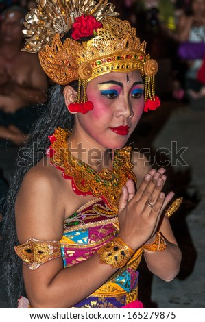 UBUD, INDONESIA - MAY 28,2010 - Kecak Dancing .Also known as the Ramayana Monkey Chant.Kecak was originally a trance ritual accompanied by male chorus. - stock photo