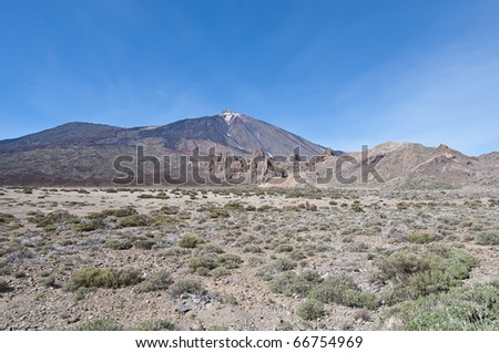 Ucanca Plains with mount Teide behind, tenerife Island - stock photo