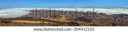 Ucanca Valley Panoramic from the top of the Teide volcano. - stock photo