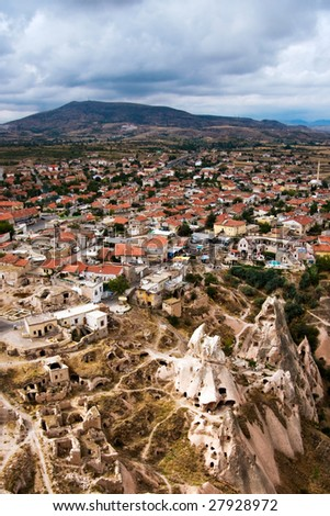 Uchisar-Cappadocia, Turkey /  Birds eye view and Mount Erciyes