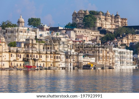 Udaipur City Palace in Rajasthan is one of the major tourist attractions in India - stock photo